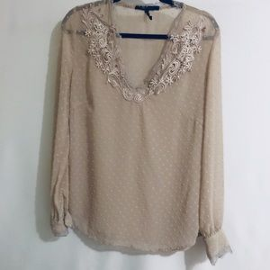 BCBG MaxAzria Swiss Dots Embroidered Top Size M